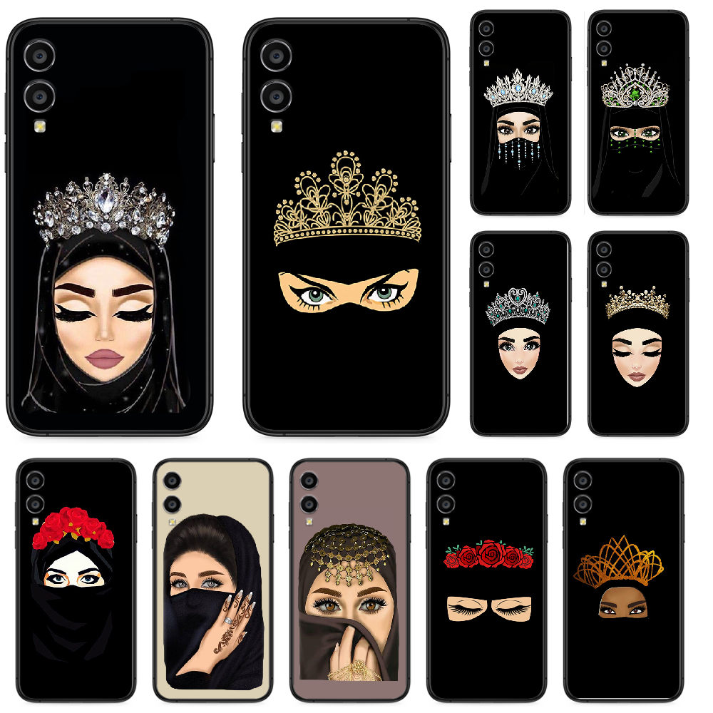 Muslim Islamic Eyes Arabic Hijab Girl Phone case For Huawei Honor 10 10i 20 6A 7A 7C 8 8A 8X 9 9X Play View 20 Lite Pro black