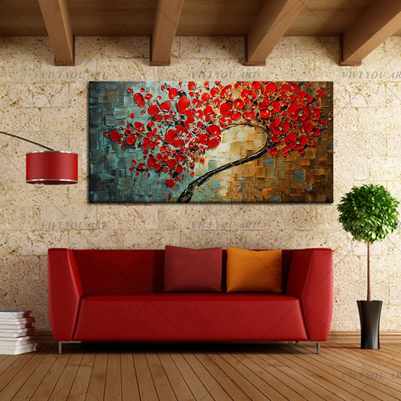 Free-shipping-Abstract-Red-Flower-Tree-Knife-Oil-Painting-On-Canvas-Beautiful-Picture-Wall-Art-Home