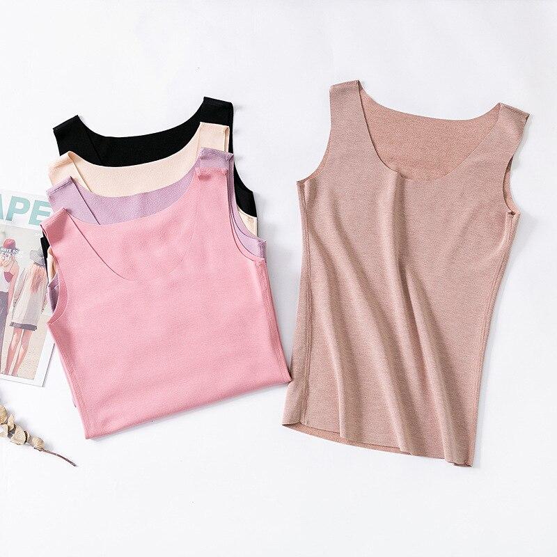 Thermal Shirt Women Sleeveless High Elastic Velvet Thermal Vest Top  Round Neckline Warm Underwear Women Camiseta Termica Mujer