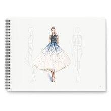 A4 Kleidung Designer Gepunktete Linie Menschlichen Körper Malerei Notebook Design Professionelle frauen Männer Kleidung der Skizze Buch 50 blätter