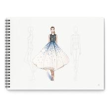A4 projektant odzieży linia przerywana malowanie ciała ludzkiego Notebook Design profesjonalne kobiety odzież męska szkicownik 50 arkuszy