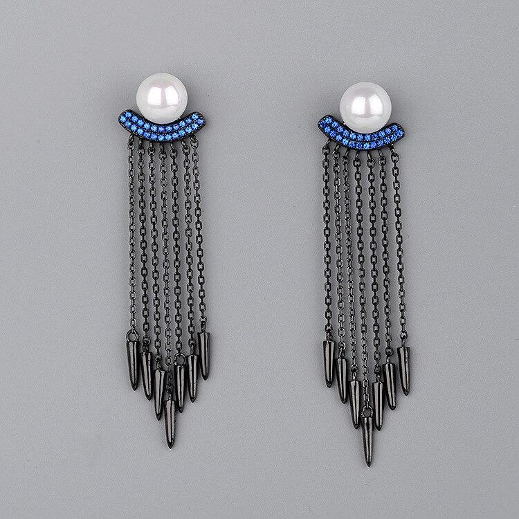 CMajor dernière S925 en argent Sterling importé 7A cubique Zircon perle chaîne glands balancent des boucles d'oreilles pour les femmes
