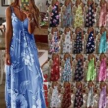 Robe longue à glissière Boho, 21 couleurs différentes, tunique Maxi, col en V, imprimé Floral, été robes de grande taille S-8XL WDC5155