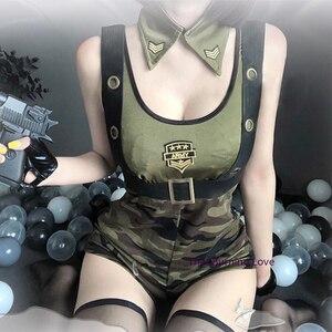Image 3 - Nowa partia wojskowych instruktorów Cosplay jednolite modne dziewczęce żołnierz armii kostium Roleplay policjantka seksowna bielizna sukienka
