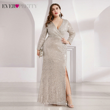 Party-Gowns Evening-Dresses Ever Pretty Sparkle Full-Sleeve Plus-Size Luxury Sequined
