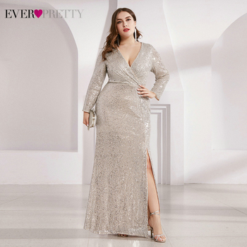 Plus Size Luxury Evening Dresses Ever Pretty Sequined Side Split Full Sleeve Ruched Sexy Sparkle Party Gowns Vestidos De Gala - discount item  25% OFF Special Occasion Dresses