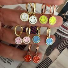 Boucles d'oreilles pendantes pour femmes, ravissantes breloques colorées, jaune/bleu/orange/rose/blanc, émail, visage souriant, à la mode, bijoux, nouvelle collection 2021