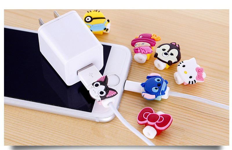 Cute Cartoon For iPhone Charger Cable Protector Cabo USB Winder Cover Case IPhone XR 6 6s 7 8 plus charger