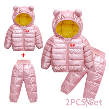 цена на Autumn Winter Baby Boy Girl Clothes Sets 2019 New Boys Clothes Sets Children Hooded Coat+Thick Pants Winter Kids Clothing set