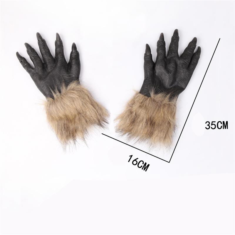 Halloween Werewolf Costume Wolf Head Mask and Claws Gloves for Halloween Cosplay Costume Wolf Mask and Claw Gloves