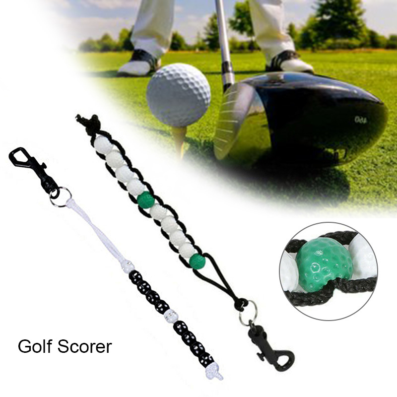 Newly Plastic Golf Bead Stroke Counter Braid Cord Score Count With Clip Counter