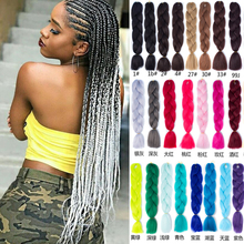 24inch Ombre Synthetic Crochet Jumbo Braids Hairstyles Pink Blonde Red Blue Braiding Hair Accessories