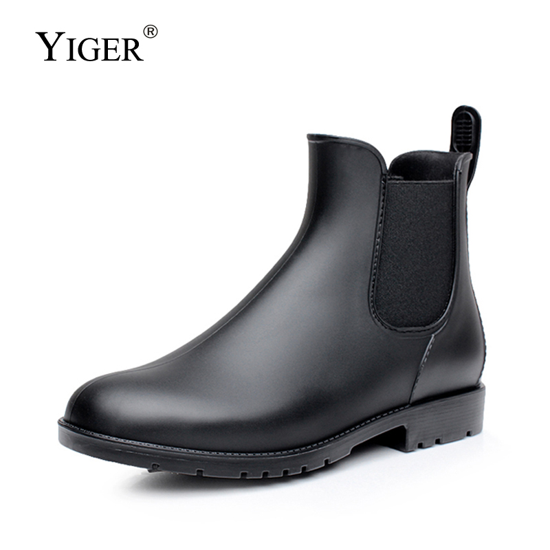 YIGER Men Rain Boots Man Chelsea Boots Male Ankle Boots Men Casual Boots Men Rubber Rain Shoes Waterproof Best-selling Style 015
