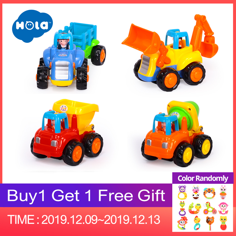 Friction Powered Cars, Push & Go Toy Trucks Construction Vehicles Toys Set For 1-3 Year Old Baby Toddlers Children Boys Gifts