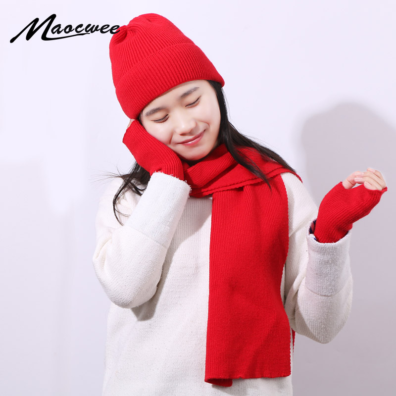 Winter Warm Three-piece Set Scarf Hat And Gloves Women Rabbit Hair Crochet Skullies Beanies PomPon Knitting Autumn Striped Cap