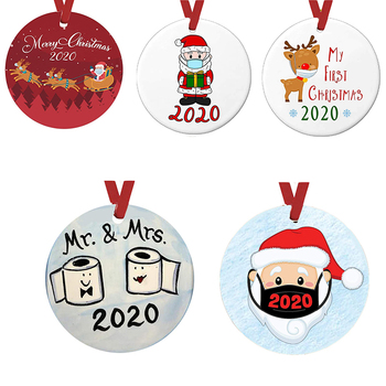 2020 Christmas Ornaments Pendant PET Cute Santa Wearing Mask Sleigh Elk Pattern Handmade Family For Xmas Tree Decoration 4IN image