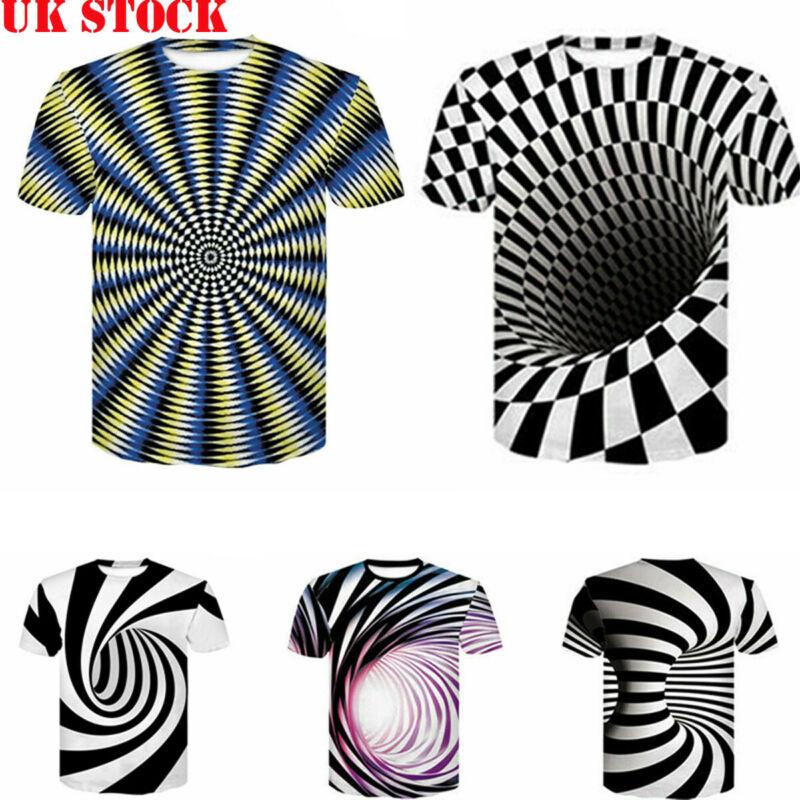 3D Optical illusion T-Shirt Hypnosis Swirl Men/'s Funny Summer Tee Tops Hoodies
