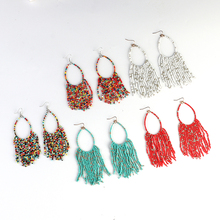 Fashion Bohemian Multicolor Ethnic Wind Earrings Round Tassel Pearl Beads Glamour Lady Banquet Pendant Jewelry