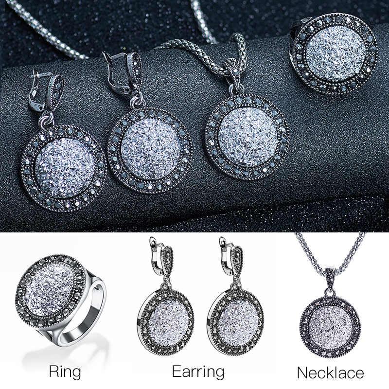 SHUANGR Vintage Black Blue อัญมณีเครื่องประดับชุดผู้หญิงโบราณคริสตัลกลมจี้สร้อยคอแหวนต่างหูสร้อยข้อมือ