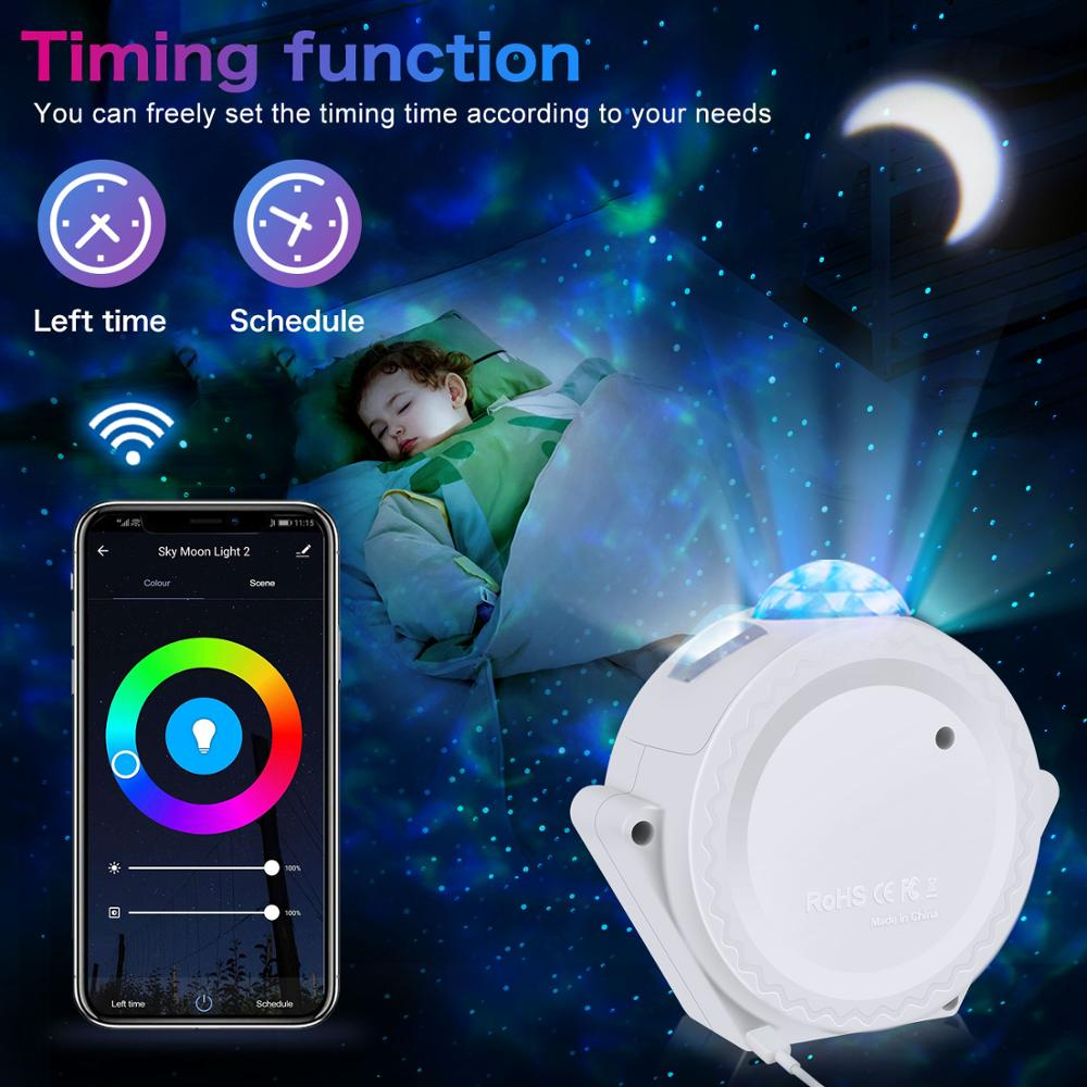 Wifi Led Night Light Starlight Projector LED Nebula Cloud Night Lights Multicolor Ocean Waving Lights Night Lamp