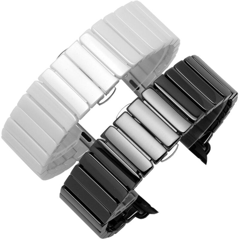 Image 3 - 세라믹 스트랩 애플 시계 밴드 44 mm 40mm iwatch 밴드 42mm 38mm 럭셔리 스테인레스 스틸 버클 팔찌 애플 시계 5 4 3 2 1워치 밴드시계 -