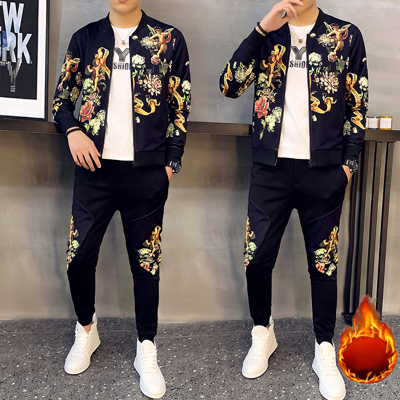 2-piece Set Track Suits Sweatsuit Man Tracksuit Plus Velvet To Keep Warm Chinese Style Winter Mens Set Pant Thick Warm Tracksuit