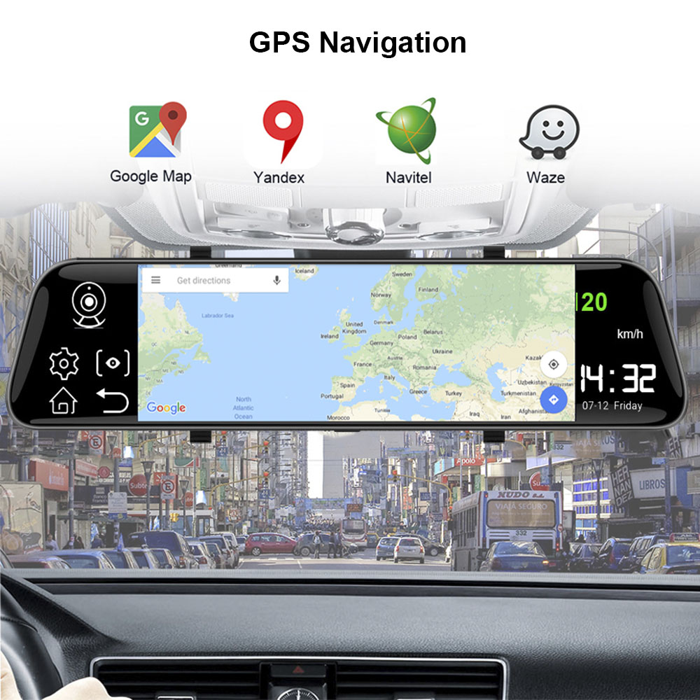 cheapest HGDO 12    4G ADAS Car DVR Camera Android 8 1 Stream Media Rear View Mirror FHD 1080P WiFi GPS Dash Cam Registrar Video Recorder
