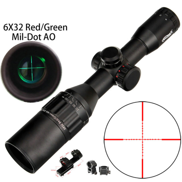 WALTHER 6x32 AO Mini Mil-Dot Double Color Illuminated Reticle Hunting Riflescope Tactical Optical Sight Rifle Scope