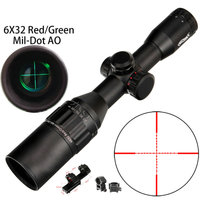 Walther 6x32 ao mini mil dot cor dupla iluminado retículo caça riflescope mira óptica tático rifle escopo|Lunetas Riflescopes| |  -