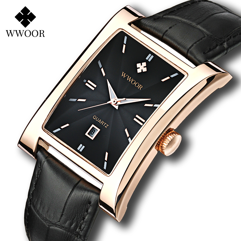 WWOOR Watch Men Top Brand Luxury Gold Black Square Watches For Men Leather Waterproof Date Clock Business Quartz Wrist Watch Box|watch square|watch brandwatch f - AliExpress