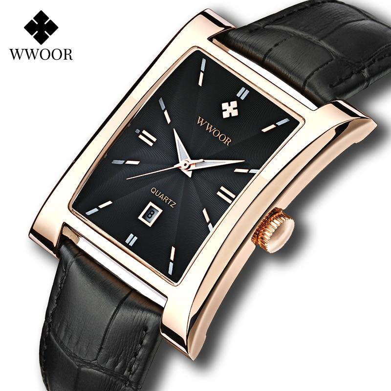 WWOOR Watch Men Top Brand Luxury Gold Black Square Watches For Men Leather Waterproof Date Clock Business Quartz Wrist Watch Box|watch square|watch brandwatch f - AliExpress