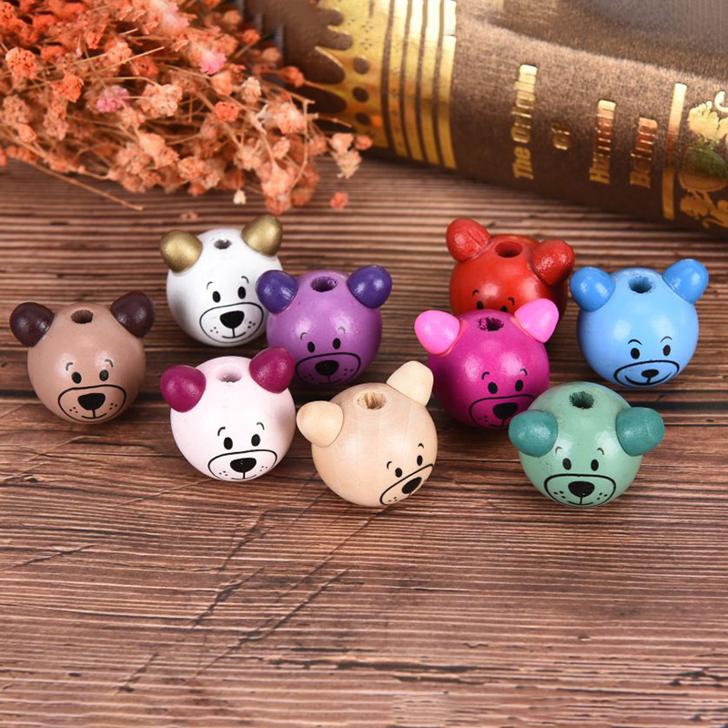 NEW IN 5PCS NATURAL//MULTI 3D LARGE BEAR SHAPED WOODEN BEADS FOR JEWELLERY MAKING