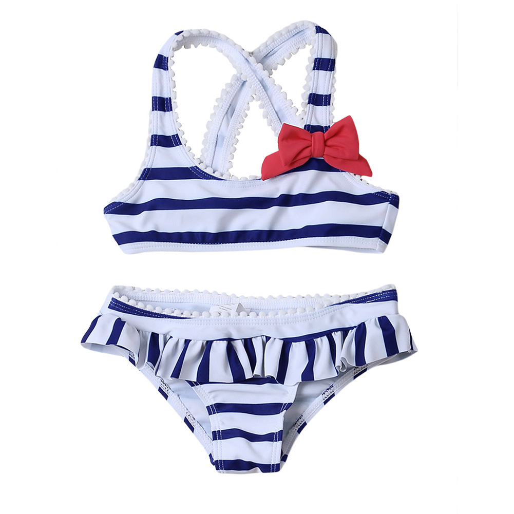 KID'S Swimwear GIRL'S Stripes Split Type Tour Bathing Suit Girls Big Boy Flounced Briefs TZ410055