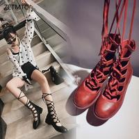 ankle boots for women luxury shoes women designers spring red boots lace up Round Toe heel Wedges fashion Rome Gladiator shoes