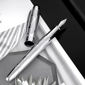 Image 1 - HongDian معدن الفضة قلم حبر النهضة 5010 جميلة تنقش الإيريدوم EF/F بنك الاستثمار القومي الكتابة هدية قلم حبر لمكتب الأعمال