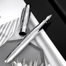 HongDian Metal Prata Fountain Pen Renascimento 5010 Belo Relevo Iridum EF/F Nib Escrita Caneta de Tinta Presente para o Negócio escritório