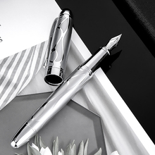 HongDian Metal Silver Fountain Pen Renaissance 5010 Beautiful Embossed Iridum EF/F Nib Writing Gift Ink Pen for Business Office