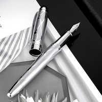 HongDian Metall Silber Brunnen Stift Renaissance 5010 Schöne Geprägte Iridum EF/F Nib Schreiben Geschenk Tinte Stift für Business büro