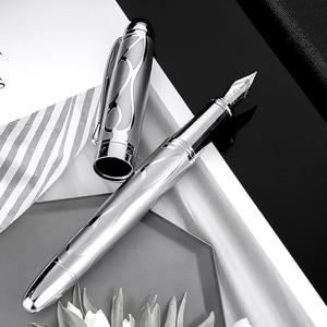 Image 1 - HongDian โลหะ Silver Fountain Pen Renaissance 5010 สวยงาม Iridum EF/F Nib เขียนของขวัญปากกาปากกาสำหรับธุรกิจสำนักงาน