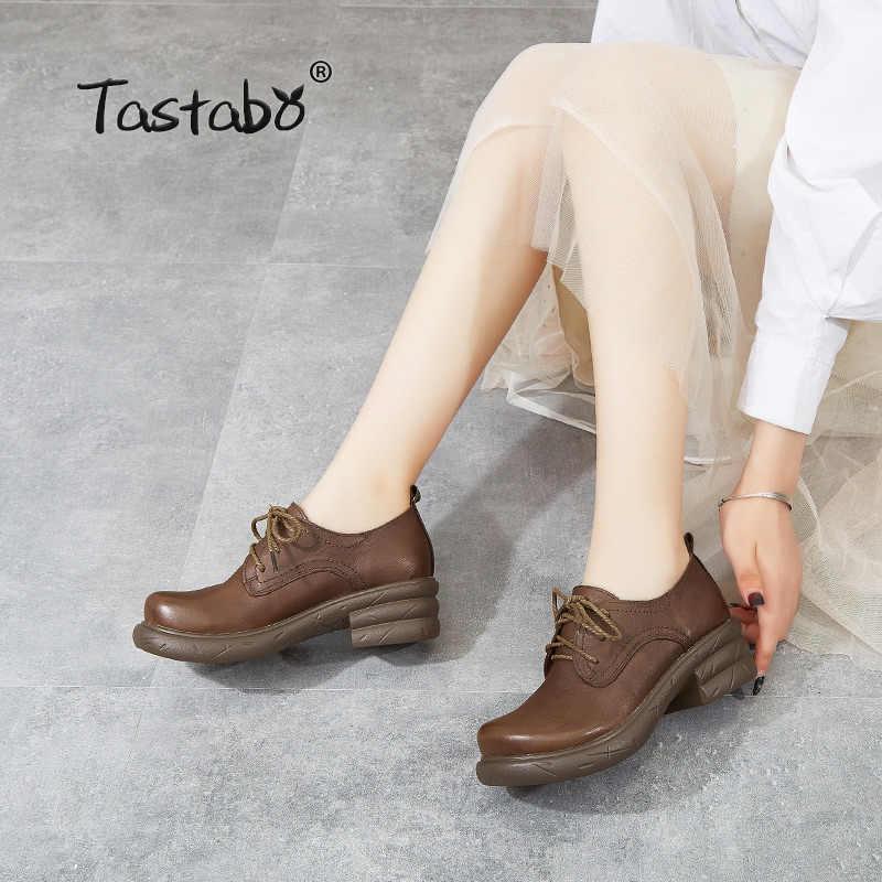 Tastabo 2019 hakiki deri kadın ayakkabısı rahat günlük ayakkabı siyah kahverengi S1905-1 el yapımı ayakkabı rahat tarzı iş ayakkabısı