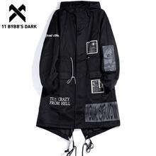 Windbreaker-Jackets Trench-Coat Hooded Streetwear Black Gothic Dark-Long Fashion 11 Swag