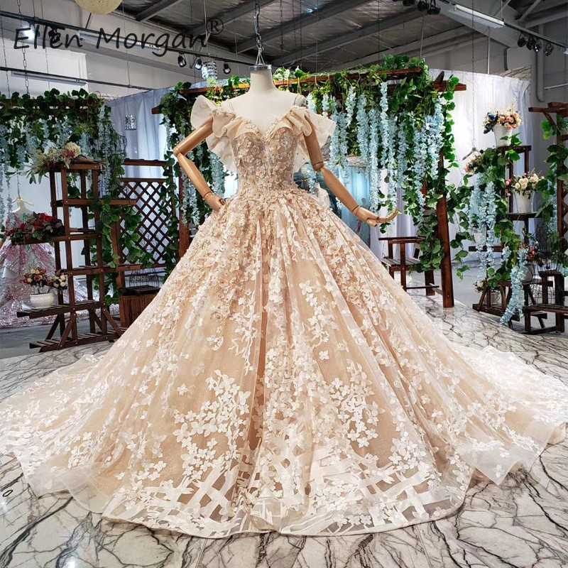 Saudi Arabian Luxury Backless Wedding Dresses Ball Gowns In Dubai Straps 3D Flwers Beaded Lace Bridal Gown Vestido De Novia 2020