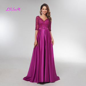 Image 1 - Purple Half Sleeves Evening Dresses 2020 Elegant Lace Appliqued Beaded Long Formal Gowns Illusion V Neck Satin Prom Dress