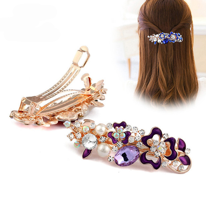 Haimeikang 2019 New Crystal Flower Hair Clip Hairpins For Women Fashion Rhinestone Pearl Clips Hair Accessories Drop Shipping