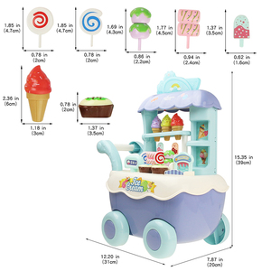 Image 5 - Funny Supermarket Shopping Pretend Play Kitchen Toy for Girls Children Educational Toys Ice Cream Cart with Light and Music