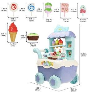 Image 5 - Śmieszne zakupy w supermarkecie udawaj, że bawisz się zabawka kuchenna dla dziewczynek zabawki edukacyjne dla dzieci wózek na lody ze światłem i muzyką