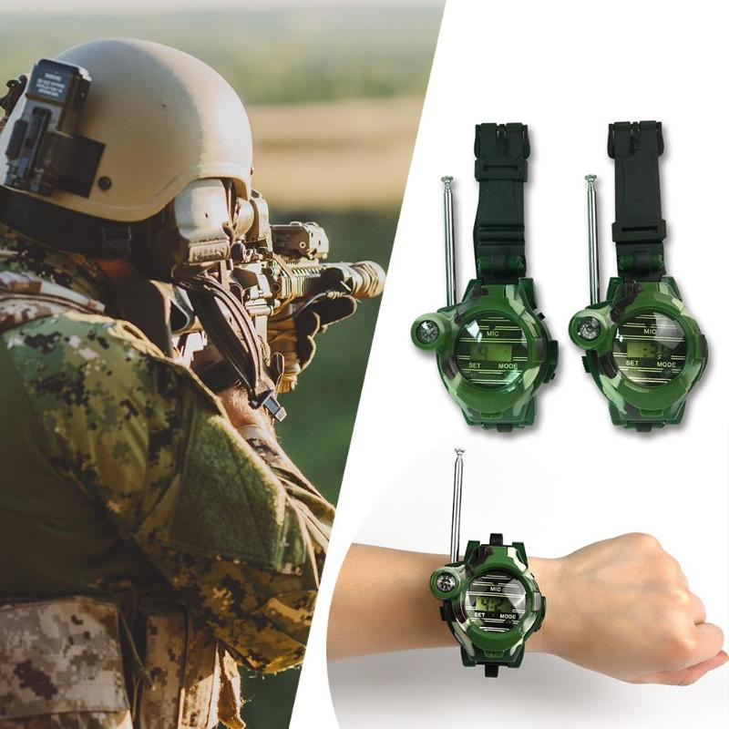 2pcs Kids Military Simulation Watch Intercom Electronic Walkie-Talkie Children Portable Interactive Radio Outdoor Activity Toys
