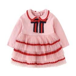 Bebê infantil roupas da menina primavera 2020 rosa arco algodão plissado bebê menina dress12 meses de manga longa bebê vestido aniversário 2 ano