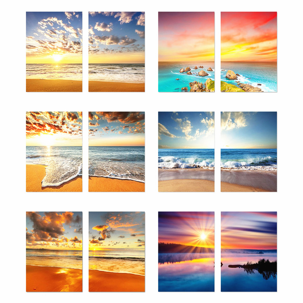 HUACAN 2pc/set Diamond Painting Full Square Landscape 5D Diamond Embroidery Cross Stitch Seaside Home Decoration Multi-picture