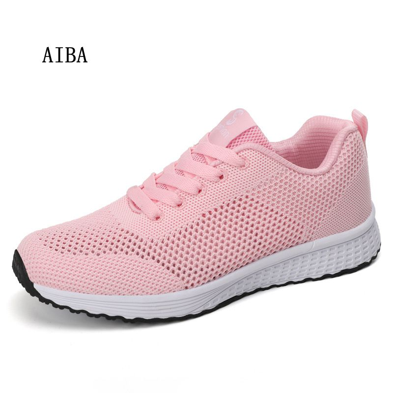 hot sale women sneakers fashion lightweigt comfortable outdoors mesh flat shoes spring summer lace-up Breathable female casual